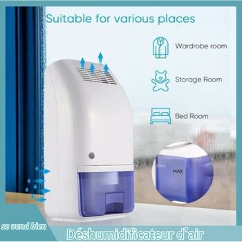 Déshumidificateur d'air électrique portable 700 ml absorbeur d'humidité ultra silencieux pour cuisine chambre – GAR