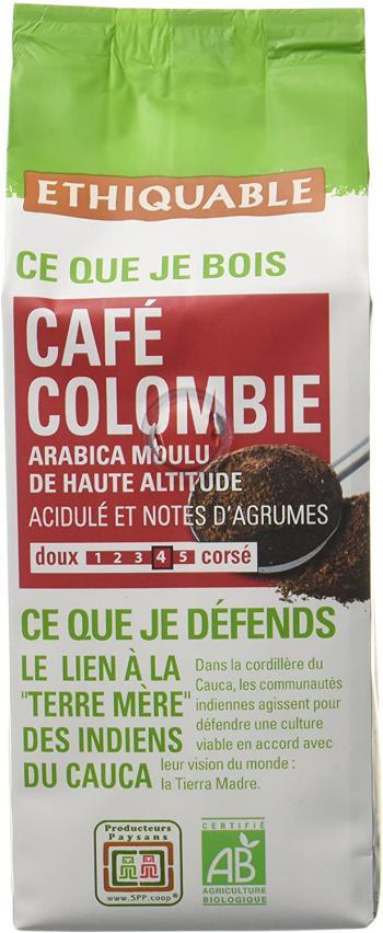 Ethiquable Café Moulu Colombie Bio et Équitable 250 g