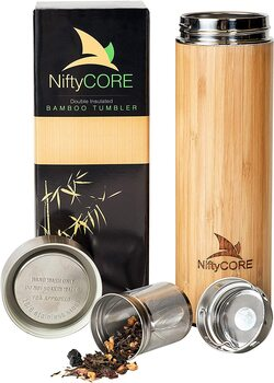 NiftyCORE Bamboo Tumbler with Tea Infuser Loose Leaf Strainer