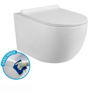 CONFORT - Cuvette WC Sans Bride Abattant fin + Frein de Chute