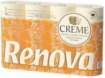 Renova Rouleaux de Papier Toilette 4 Épaisseurs Parfumés Crème